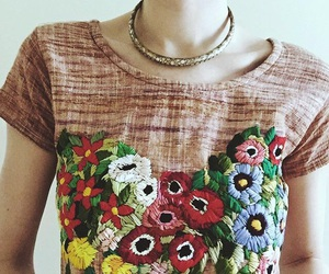 embroidery, flowers, and handmade image