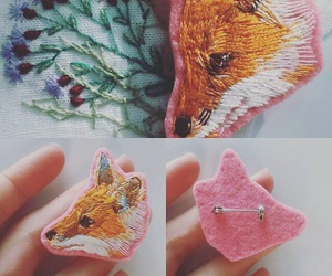 brooch, embroidery, and fox image