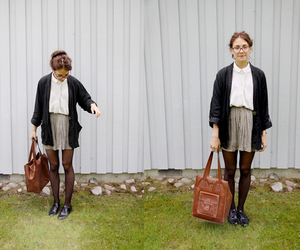 bag, blouse, and brogues image