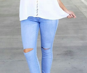 white tank top, orange heels, and blue ripped jeans image