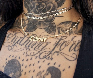 neck tattoos, gold necklaces, and black t-shirts image