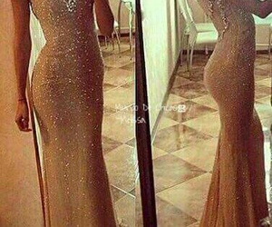 dress, Prom, and gold image