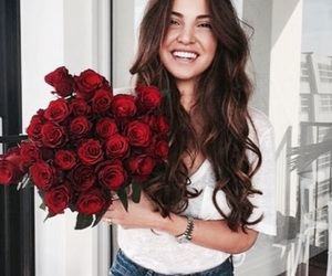 roses, girl, and flowers image