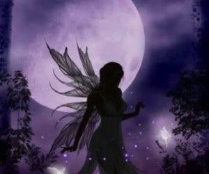fairy, moon, and purple image