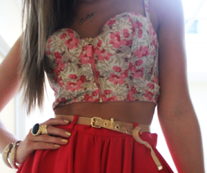 fashion, skirt, and red image