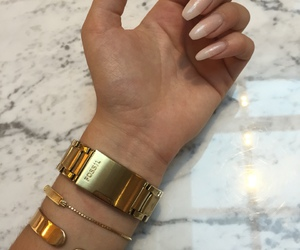 bracelets, nails, and gold image