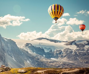 mountains, sky, and balloons image