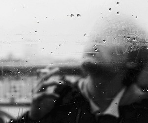 boy, rain, and black and white image