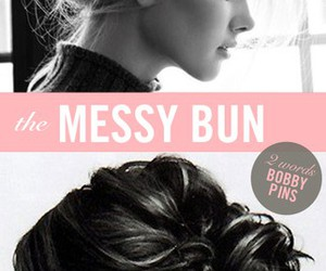 hair, bun, and messy bun image