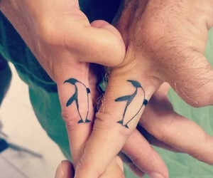 couple, penguins, and tattoo image