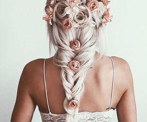 blonde, braid, and flowers image