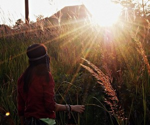 girl, meadow, and sunlight image