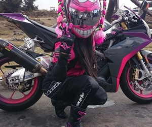 biker, girls, and pink image