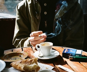 coffee, cigarette, and smoke image