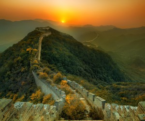 china, sunset, and great wall image