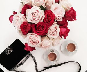 flowers, roses, and bag image