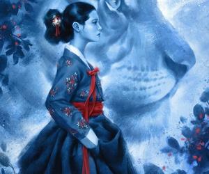 art, blue, and hanbok image
