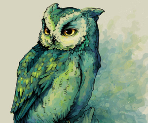 owl, green, and art image