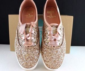glitter, keds, and rose gold image