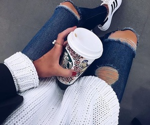 starbucks, style, and adidas image