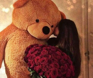 rose, bear, and flowers image