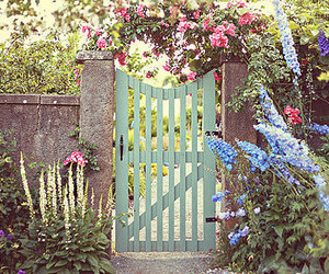 flowers, garden, and gate image