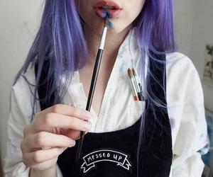 purple, hair, and art image