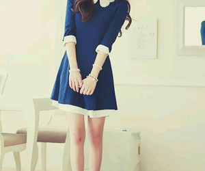 dress, blue, and korean image