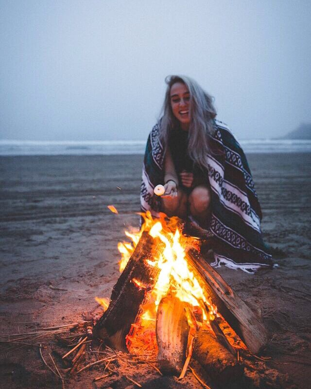 beach, fire, and girl image