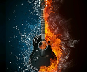 fire, guitar, and water image