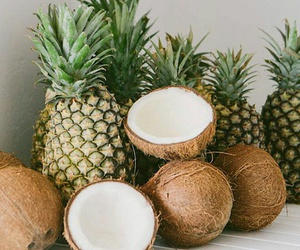 fruit, pineapple, and coconut image