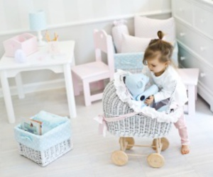 little girl, mint, and baby stroller image