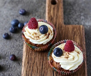 blueberry, cupcakes, and food image