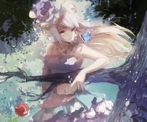 anime, anime girl, and apple image
