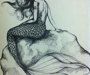 mermaid, drawing, and art image