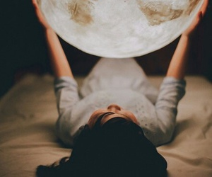 girl, moon, and room image