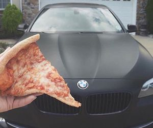 pizza, bmw, and car image