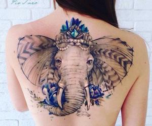blue, Tattoos, and elephant image