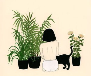 cat, plants, and girl image