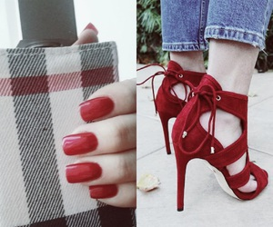 girly, nails, and red image