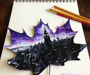 art, city, and leaves image