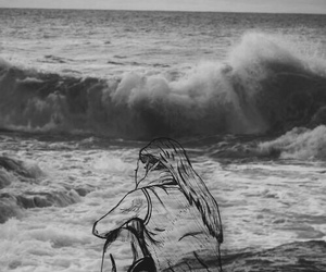 art, sea, and black and white image