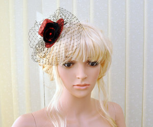 etsy, red top hat, and black fascinator image