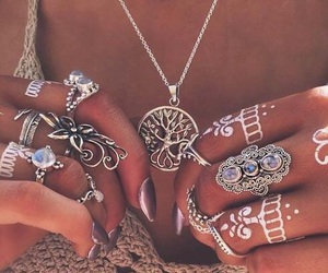 boho, rings, and hipster image