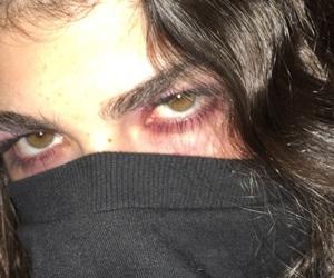 eye, girl, and red image