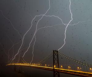 lightning, bridge, and rain image