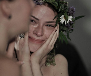 cry, floral, and smilefake image