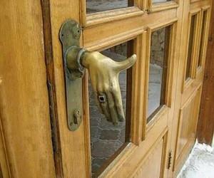 door, hand, and funny image