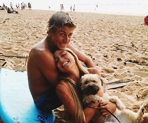 couple, beach, and dog image