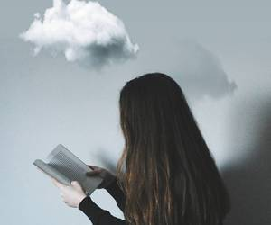 book, cloud, and girl image